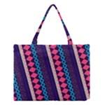 Purple And Pink Retro Geometric Pattern Medium Tote Bag