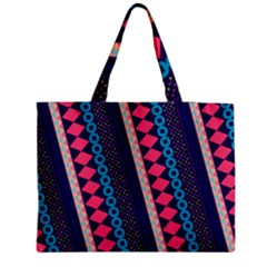 Purple And Pink Retro Geometric Pattern Medium Zipper Tote Bag