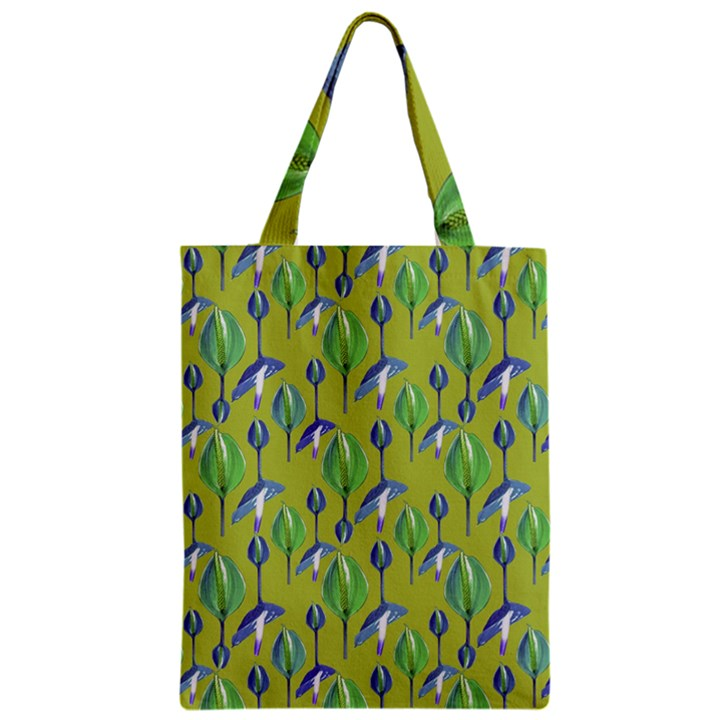 Tropical Floral Pattern Zipper Classic Tote Bag