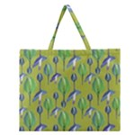 Tropical Floral Pattern Zipper Large Tote Bag