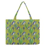 Tropical Floral Pattern Medium Zipper Tote Bag