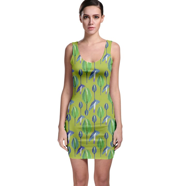 Tropical Floral Pattern Sleeveless Bodycon Dress
