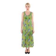 Tropical Floral Pattern Sleeveless Maxi Dress