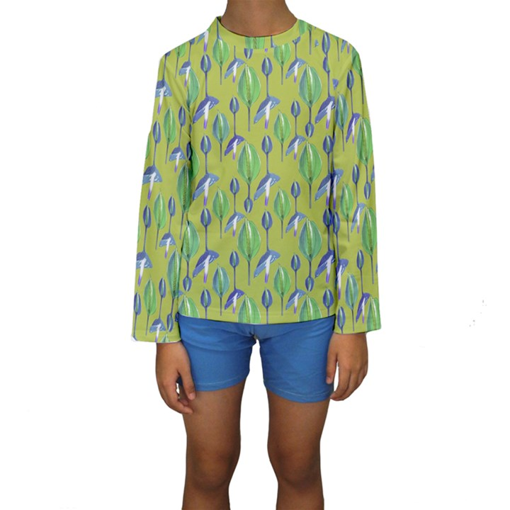 Tropical Floral Pattern Kids  Long Sleeve Swimwear
