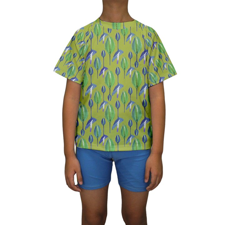 Tropical Floral Pattern Kids  Short Sleeve Swimwear