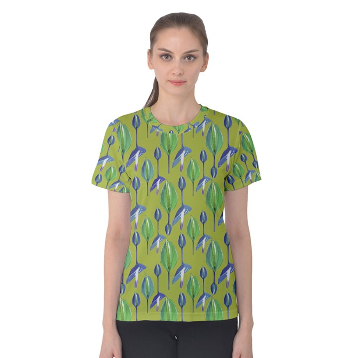 Tropical Floral Pattern Women s Cotton Tee