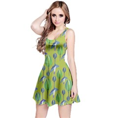 Tropical Floral Pattern Reversible Sleeveless Dress