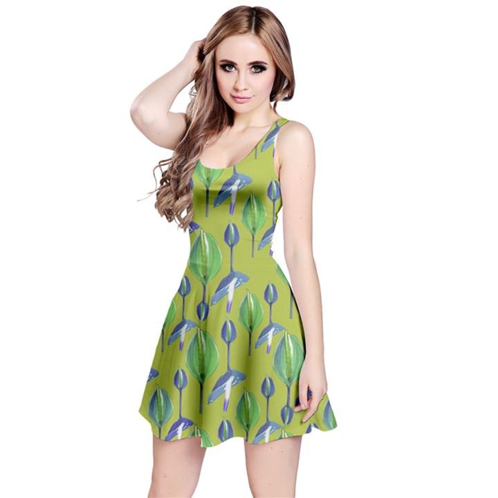 Tropical Floral Pattern Reversible Sleeveless Dress