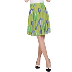 Tropical Floral Pattern A-Line Skirt