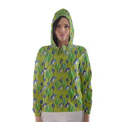 Tropical Floral Pattern Hooded Wind Breaker (women)