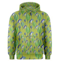Tropical Floral Pattern Men s Zipper Hoodie