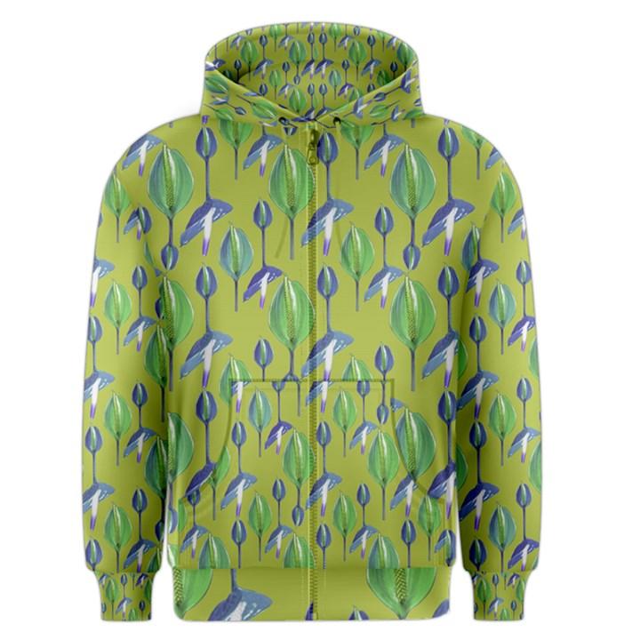 Tropical Floral Pattern Men s Zipper Hoodie