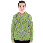 Tropical Floral Pattern Women s Zipper Hoodie