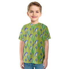Tropical Floral Pattern Kids  Sport Mesh Tee