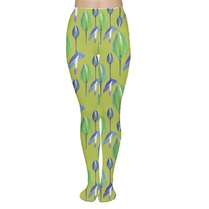 Tropical Floral Pattern Women s Tights