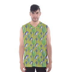 Tropical Floral Pattern Men s Basketball Tank Top