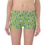 Tropical Floral Pattern Reversible Boyleg Bikini Bottoms