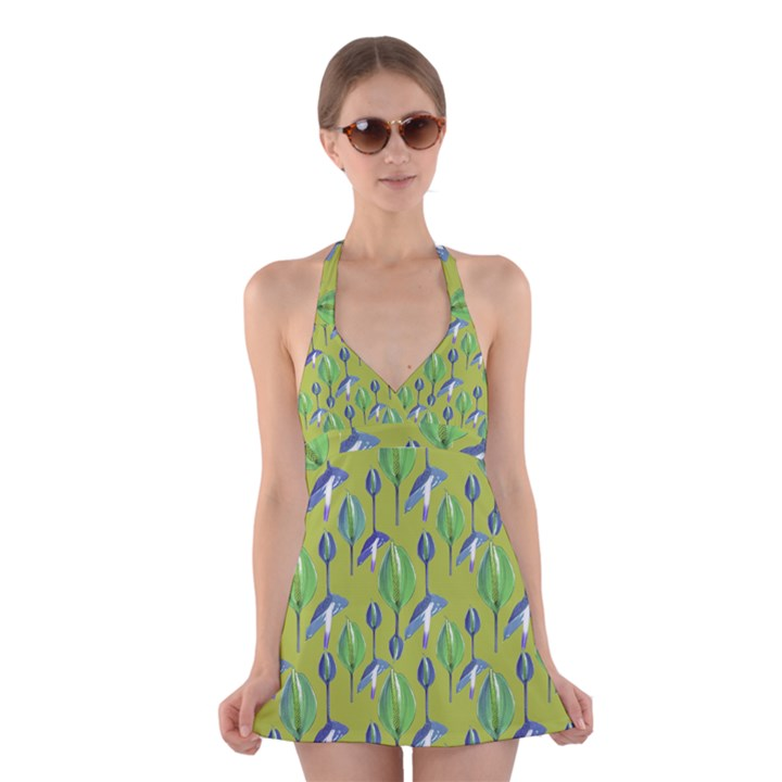 Tropical Floral Pattern Halter Swimsuit Dress