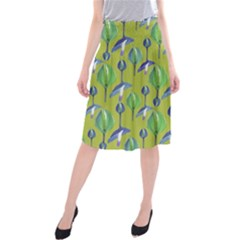 Tropical Floral Pattern Midi Beach Skirt
