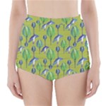 Tropical Floral Pattern High-Waisted Bikini Bottoms