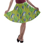 Tropical Floral Pattern A-line Skater Skirt