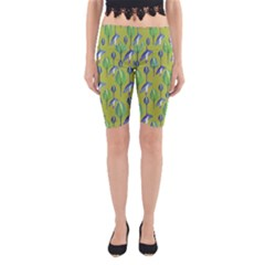 Tropical Floral Pattern Yoga Cropped Leggings