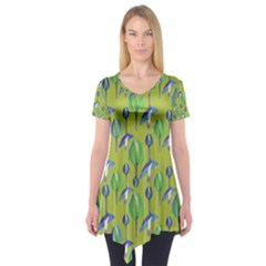 Tropical Floral Pattern Short Sleeve Tunic
