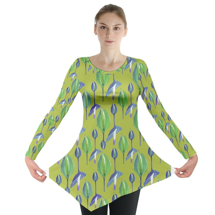 Tropical Floral Pattern Long Sleeve Tunic