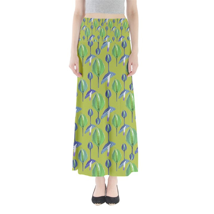Tropical Floral Pattern Maxi Skirts