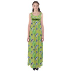 Tropical Floral Pattern Empire Waist Maxi Dress