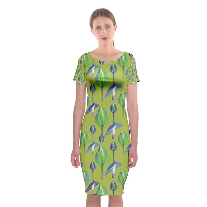 Tropical Floral Pattern Classic Short Sleeve Midi Dress