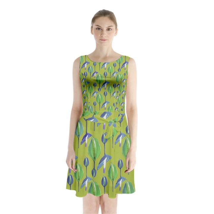 Tropical Floral Pattern Sleeveless Chiffon Waist Tie Dress