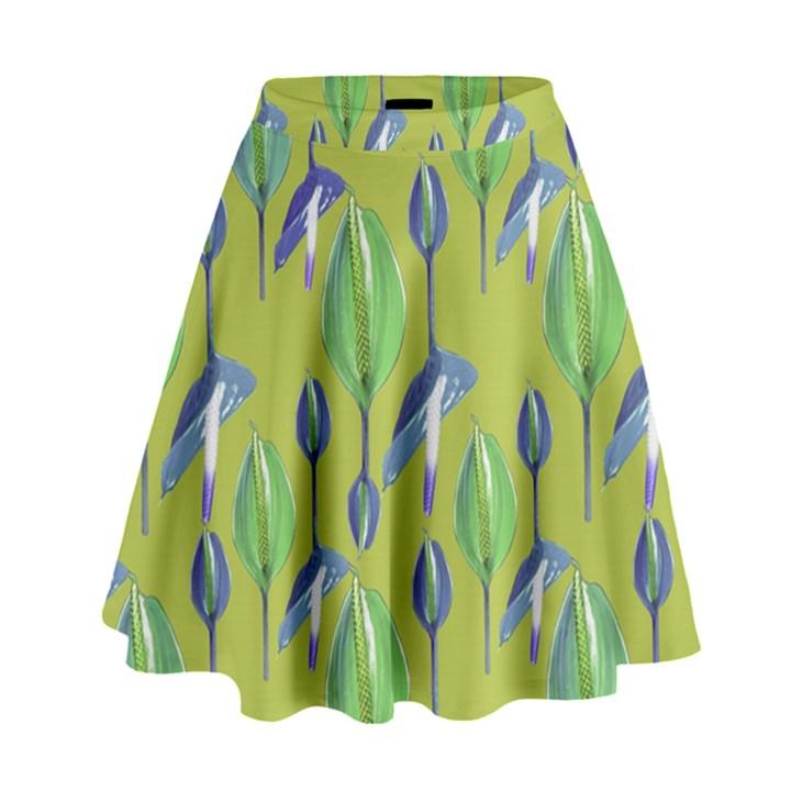 Tropical Floral Pattern High Waist Skirt
