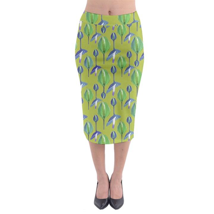 Tropical Floral Pattern Midi Pencil Skirt