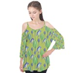 Tropical Floral Pattern Flutter Tees