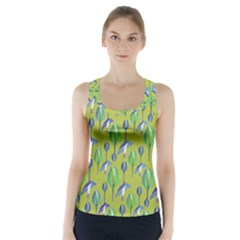 Tropical Floral Pattern Racer Back Sports Top
