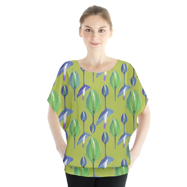 Tropical Floral Pattern Blouse