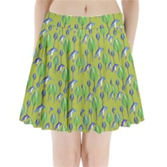 Tropical Floral Pattern Pleated Mini Skirt