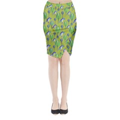 Tropical Floral Pattern Midi Wrap Pencil Skirt