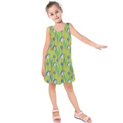 Tropical Floral Pattern Kids  Sleeveless Dress