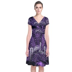 Panic At The Disco Short Sleeve Front Wrap Dress by Onesevenart