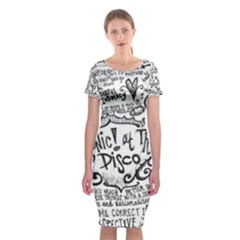 Panic! At The Disco Lyric Quotes Classic Short Sleeve Midi Dress by Onesevenart