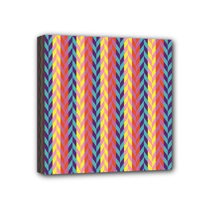 Colorful Chevron Retro Pattern Mini Canvas 4  x 4