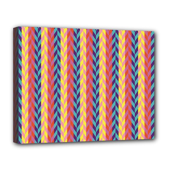 Colorful Chevron Retro Pattern Canvas 14  x 11