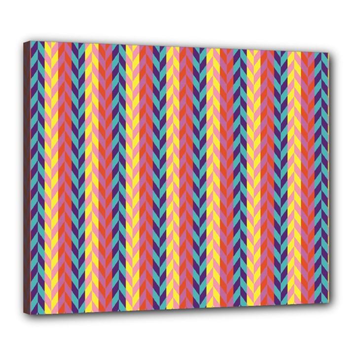 Colorful Chevron Retro Pattern Canvas 24  x 20
