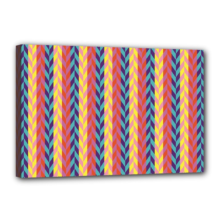 Colorful Chevron Retro Pattern Canvas 18  x 12