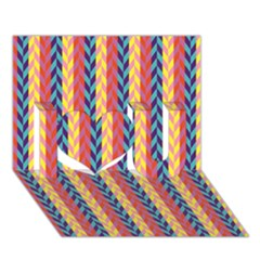 Colorful Chevron Retro Pattern I Love You 3d Greeting Card (7x5) by DanaeStudio