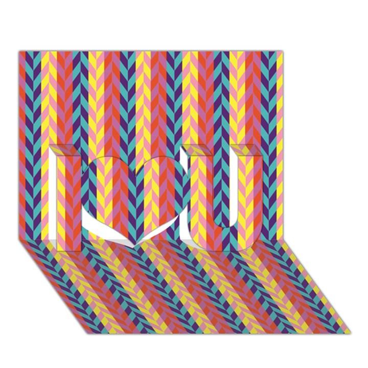 Colorful Chevron Retro Pattern I Love You 3D Greeting Card (7x5)