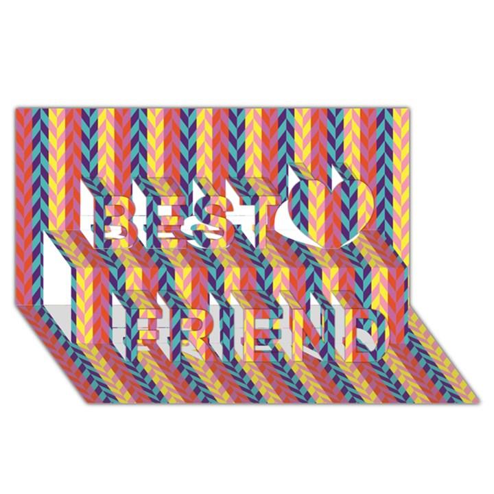 Colorful Chevron Retro Pattern Best Friends 3D Greeting Card (8x4)