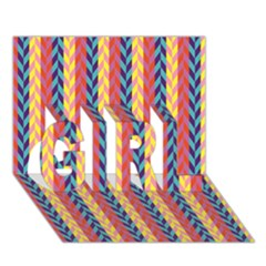 Colorful Chevron Retro Pattern Girl 3d Greeting Card (7x5) by DanaeStudio